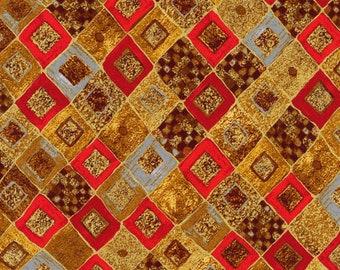Gustav Klimt Red Diamonds Metallic - Robert Kaufman - Fat Quarter