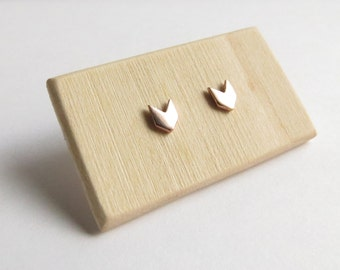Solid 10K Rose Gold Petite Chevron Studs. Solid 10K Gold studs. Small Rose Gold stud earrings. Rose gold chevron stud earrings.