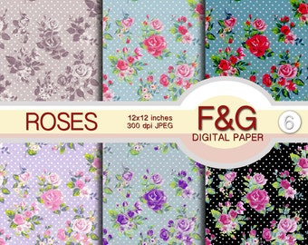 """Shabby """"ROSES"""" Digital Papers, Craft, Scrapbook Papers, Scrapbooking, Cartonnage, Background, Supplies, Shabby Chic, Vintage, Romantic"""