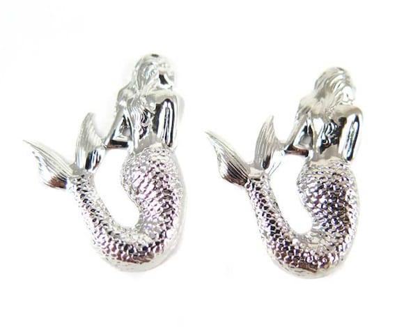 Rhodium Plated Mermaid Pendants - Right Facing (4X) (M665-B)