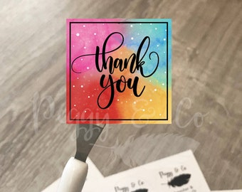"""Rainbow Thank you stickers 2"""" thank you stickers 100 150 250 500 custom thank you stickers printed vinyl package sticker watercolor sticker"""