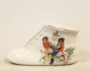 Vintage Porcelain Baby Shoe/Bootie with Two Birds and Floral Branches