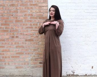 Vintage 70s Dress | Brown Dress with Bell Sleeves | Maxi Dress | Lilli Diamond Dress | Beaded Dress | Large Dress L | Size 12 Dress | Disco