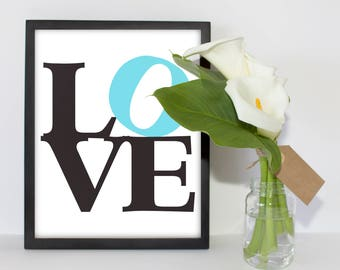 Gallery Wall Print Instant Download LOVE Word Art Blue