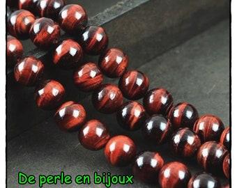 10 PCs - eye of Bull 4mm black brown red reflection semi precious gem quality gemstone bead 4mm Bull's eye
