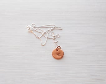 Personalized Hand Stamped Copper and Sterling Silver Initial Pendant Necklace Small Round Disc Charm on Dainty 0.8 mm Box Chain