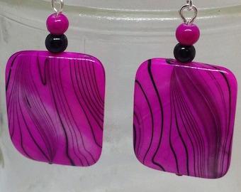 Pink zebra earings