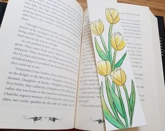 SpringTulips Minimalist Watercolor Bookmark
