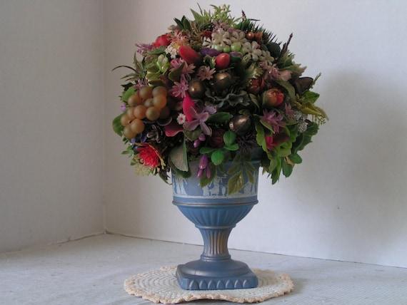Avon Pedestal Centerpiece Plastic Flower Arrangement