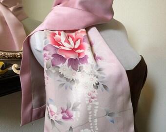 Vintage Japanese Kimono Soft Pink Floral Silk Scarf