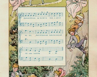 Vintage 1930 Delightful Nursery Rhyme Book Plate Jack And Jill Wend Up The Hill ORIGINAL childrens book plate