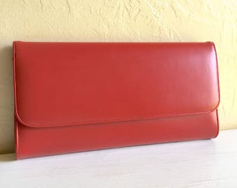 Vintage Classic Red Clutch Purse Small Bag Elegant Mid-Century Style Red Interior