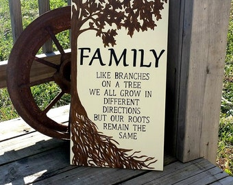 Wooden Family Sign - Family Roots Sign - Painted Rustic Sign - Family Wall Decor - Tree Sign - Like Branches On A Tree Roots Remain The Same