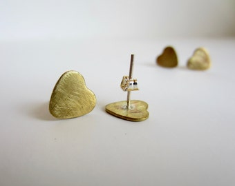 Heart Earrings Brushed Brass Jewelry Tiny Heart Stud Earrings Sterling Silver Post Earrings Valentine's Day Gift for Her