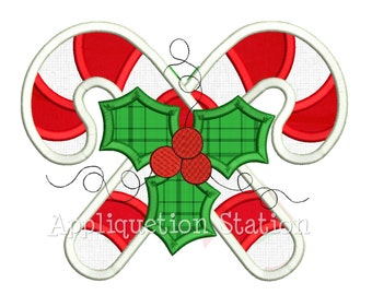 Candy Cane Holly Applique Machine Embroidery Design Christmas Holiday INSTANT DOWNLOAD