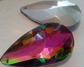 2 x Large multi-color glass pendant
