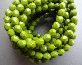6mm Fire Polished Beads - Opaque Olive Green - Faceted Rounds - Czech Glass Beads - Bead Soup Beads