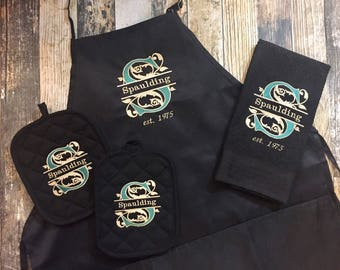Personalized Kitchen Apron, Towel, and Hot Pads - Elegant Split Initial with Last Name Embroidered in your choice of colors - Wedding Gift