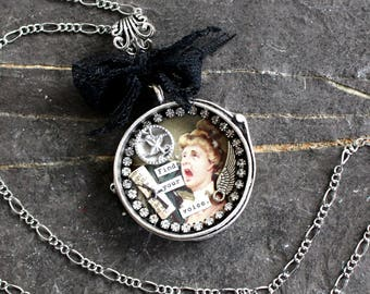 Find Your Voice Assemblage Necklace shadowbox shrine pendant jewelry statement inspire vintage antique victorian empowerment women resist