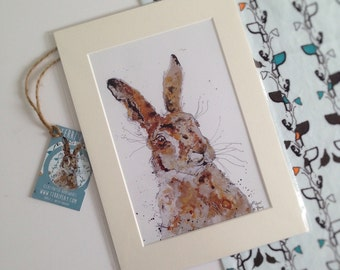 Hare Print, March Hare, Animal Drawing, British Wildlife, Wall Art, Wild, Frame Ready,Colourful Illustration,Animal Art,Watercolour Painting