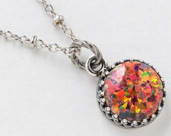 Silver Opal Necklace, Fire Opal Pendant, Mexican Opal Necklace in Silver Filigree with Beaded Chain, October Birthstone Opal Jewelry Gift