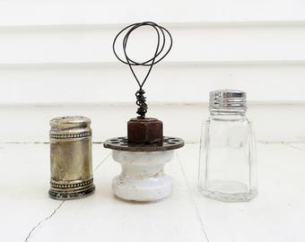 Wire photo holder from found objects / Rusty found objects / Junk photo stand / Farmhouse decor