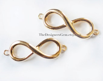Gold Infinity Connector, Gold Infinity Charm, 24kt Gold Vermeil,  24 x 8mm