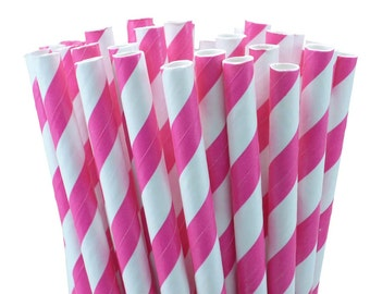 25 Shocking Pink Stripes Paper Straws-7.75 Inches-Party Straws-Shower-Wedding-Party-Biodegradable