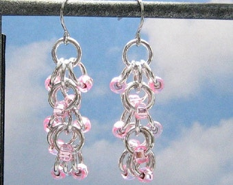 Pink Beaded Dangle Earrings, Shiny Silver Aluminum Chainmail, Pink Chain Mail Jewelry