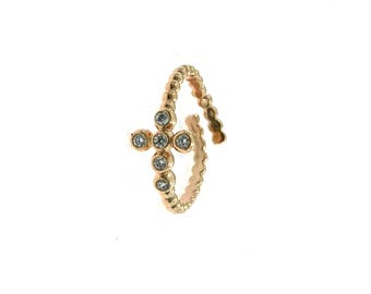 Open ring with central cross with white zircons in silver 925 sterling, hypoallergenic, pink gold plated.