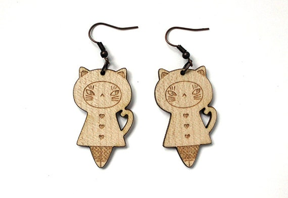 Cat doll earrings - lasercut wood dangle earrings - cute doll jewelry - cat jewelry - matriochka - kokeshi - graphic - kitten - kawaii