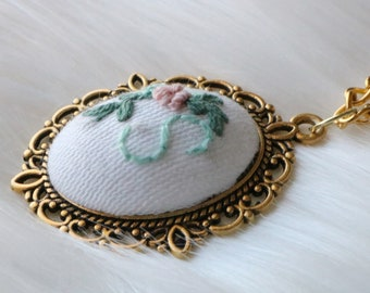 Initial Necklace - Embroidery Necklace - Hand Stitched - Mothers Day Gift - Handmade Jewelry - Hand Embroidery - Made By the Cheeky Chica