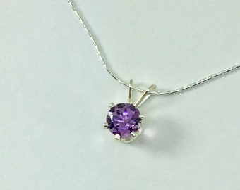 Amethyst Necklace, Sterling Silver Amethyst Pendant, Amethyst Jewelry, Birthstone Jewelry, Gemstone Necklace Gift For Women, Purple Amethyst