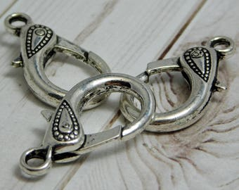 31x16mm - Large Lobster Clasp - Silver Lobster Clasp - Lobster Claw Clasp - Antique Silver Clasp - Tibetan Findings - 2 or 4pcs - (B721)