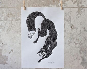 Black Fox Linocut Print
