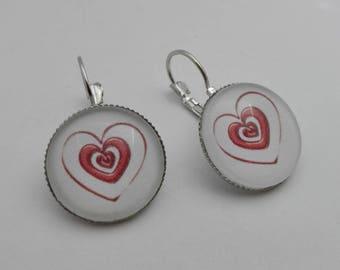 Earrings red heart, nickel free costume jewelry, gift