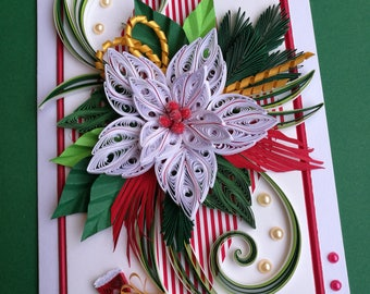 Christmas card, Quilling Christmas card, Merry Christmas card, Quilling card, Handmade Christmas card, Quilling paper card