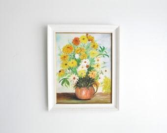 Vintage Original Mid Century Floral Painting // Still-Life