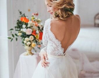 Lavender Blush, Misty Rose, Two Piece Wedding Dress, Alternative Wedding Dress , Long Sleeve Tulle Dress,sexy wedding dress, bridal gowns
