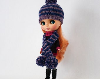 Blythe stripey bobble hat knitting PATTERN with bonus free striped scarf pattern - instant download - permission to sell finished objects
