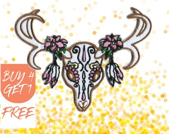 Sugar Skull Patches Deer Patches Iron On Patch Embroidered Patch Longhorn Bohemian