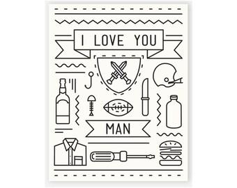 Bromance Card / I Love You Card / Dude Card / I Love You Man