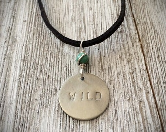 Wild Hand Stamped Layering Necklace, Silver Word Jewelry, Turquoise