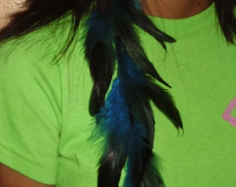 SKY -  Teal Feather Hair Extension Clip or Earring with a Silver Feather Charm, Gift For Her, Hand Made