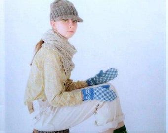 "37 HAND KNIT CROCHET Pattern-""Hand Knit-Sebido Mook""-Japanese Craft E-Book #381.Cape-mittens-sleepers-scarf-vest-sock-bag-necklace."