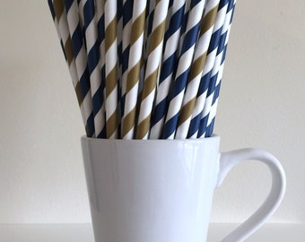 Navy and Gold Striped Paper Straws Navy Blue and Dark Gold Party Supplies Party Decor Bar Cart Cake Pop Sticks  Party Graduation