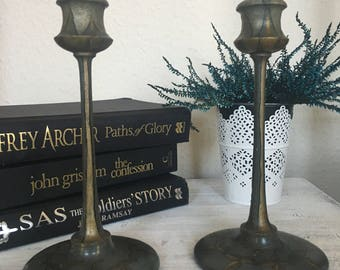 Antique handpainted wooden candlestick holders.