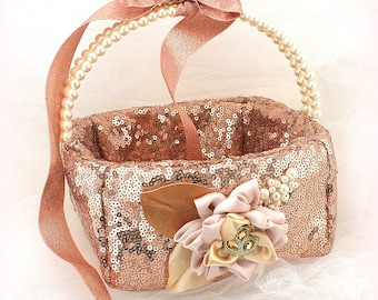 Rose Gold Flower Girl Basket, Sequin Wedding Basket, Square Flower Girl Basket, Pearl Handle Girl Basket, Elegant Flower Girl Basket