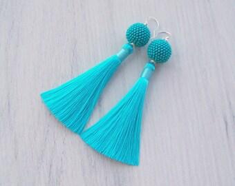 Turquoise Silk tassel earrings - Oscar De La Renta style earrings - Statement beaded ball earrings - Bright trendy lightweight  earrings