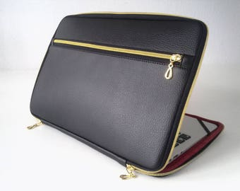Foam padded Laptop Bag Women and Men, Customized Laptop Bag with interior to choose, Black Laptop Bag Leather